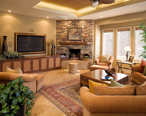 Stone Corner Fireplace Design Ideas & Remodel Pictures