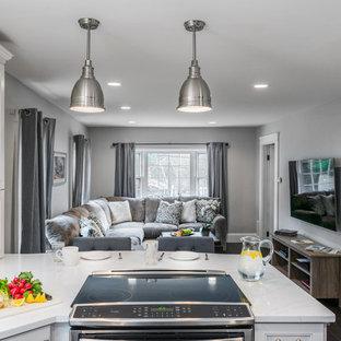 Mittelgroßes, Offenes Klassisches Wohnzimmer mit grauer Wandfarbe, Bambusparkett und Wand-TV in Boston