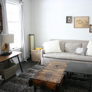 Inspiration for a rustic family room remodel in Chicago with white walls