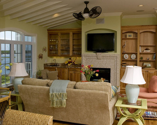 Inspiration For An Eclectic Family Room Remodel In Raleigh With Beige  Walls, Medium Tone Hardwood