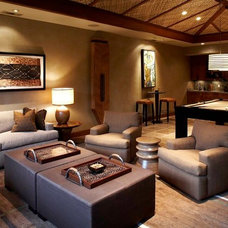 Tropical Family Room by Knudson Interiors