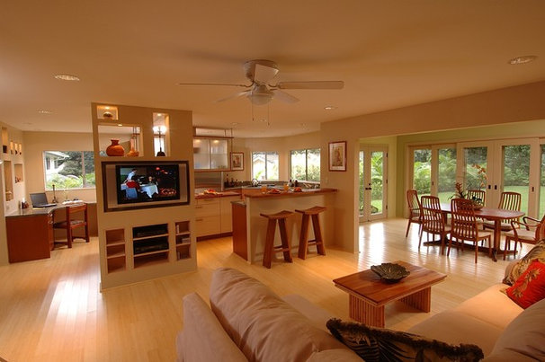 Asian Family Room by Archipelago Hawaii Luxury Home Designs