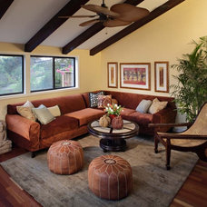 Tropical Family Room by Kristina Wolf Design