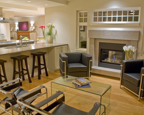 inspiration for a contemporary family room remodel in vancouver with a tile fireplace surround