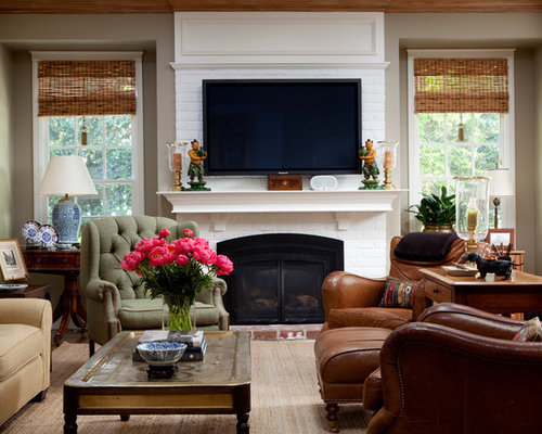 Living Room With Brick Fireplace painted brick fireplace ideas | houzz