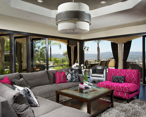 Gray and pink ideas pictures remodel and decor for Hot pink living room ideas