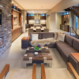 Family room - small modern open concept concrete floor family room idea in Minneapolis with beige walls, a stone fireplace and a wall-mounted tv