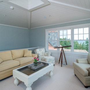 他の地域の小さいビーチスタイルのおしゃれなファミリールーム (カーペット敷き、白い床、青い壁、テレビなし) の写真