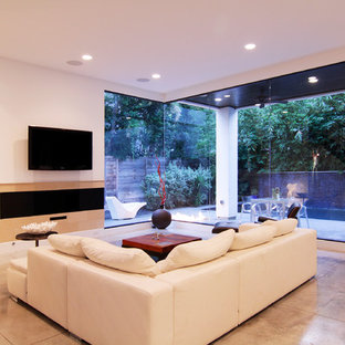Example of a trendy family room design in Houston