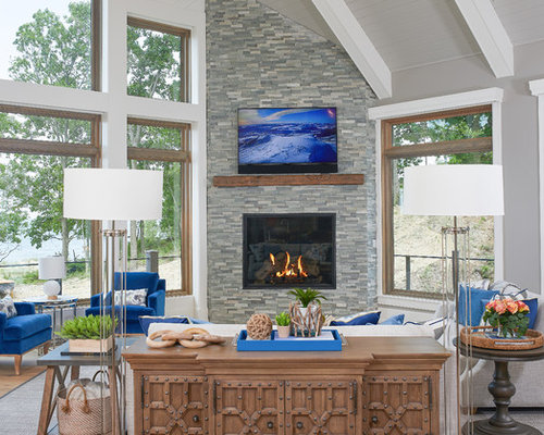 Exceptional Beach Style Open Concept Light Wood Floor Living Room Idea In Grand Rapids  With A Corner
