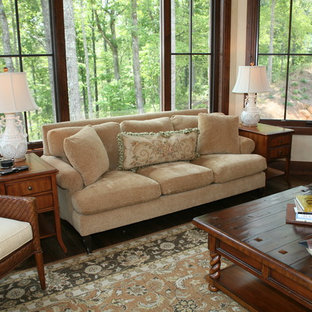Example of a classic dark wood floor family room design in Other