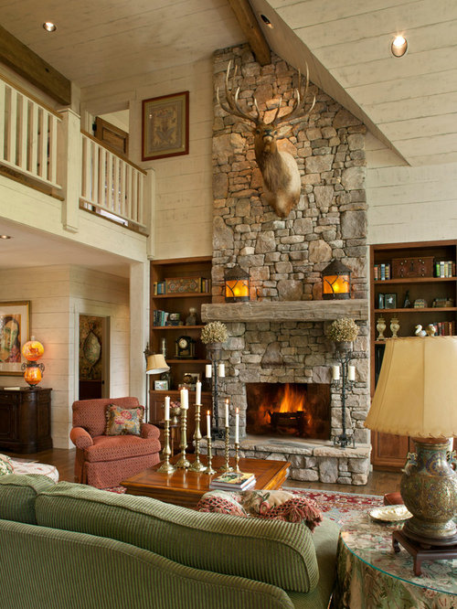 Ledge stone fireplaces home design ideas pictures remodel and decor - Great home interior and exterior decoration with white stone fireplace ...