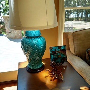 Lake View Teal and Cream Tuscan Family Room