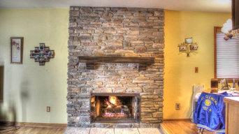 Ledge stone Fireplace remodel.