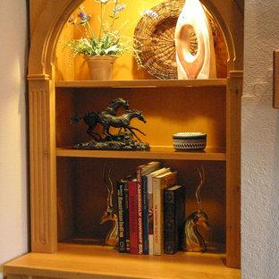 Left Fireplace Built-in Interior Lighting with Framed Glass Shelves