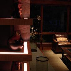 Contemporary Family Room by 186 Lighting Design Group - Gregg Mackell