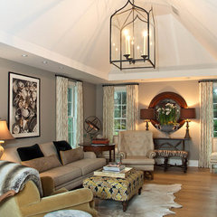 traditional family room by Leslie Hayes Interiors