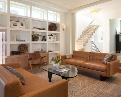Marvelous Inspiration For A Modern Medium Tone Wood Floor Family Room Remodel In  Minneapolis With White Walls