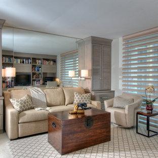 Imagen de sala de estar actual con paredes blancas