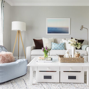Inspiration for a small transitional loft-style family room in Sacramento with grey walls, carpet and white floor.