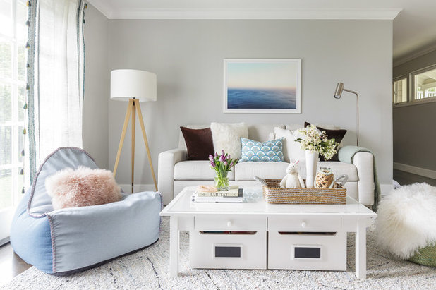 Transitional Family Room by Rachel Madden Interiors
