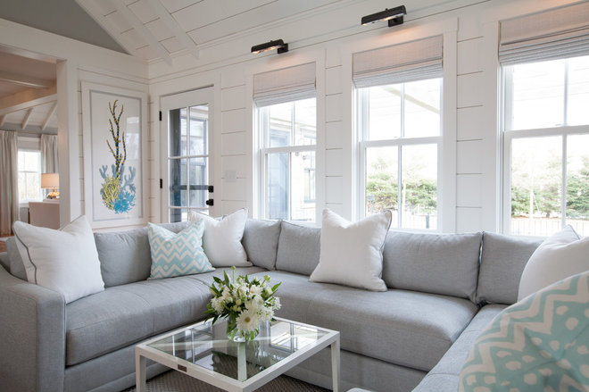 Beach Style Family Room by Carolyn Thayer interiors