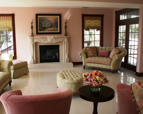 Family room design ideas renovations photos with marble for Annmarie ruta elegant interior designs