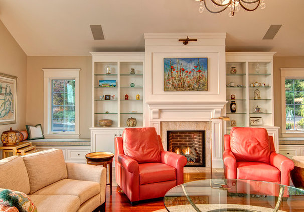 Eclectic Family Room by Farinelli Construction Inc