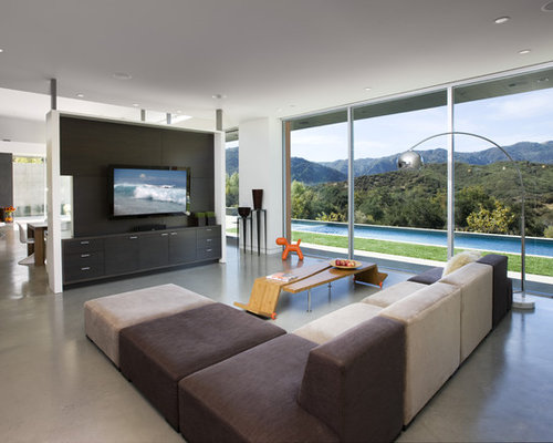 Large Trendy Family Room Photo In Los Angeles With Concrete Floors, White  Walls, A