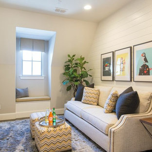 Design ideas for a small traditional family room in Dallas with grey walls and dark hardwood floors.
