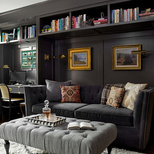 Family room - transitional dark wood floor and brown floor family room idea in Chicago with black walls