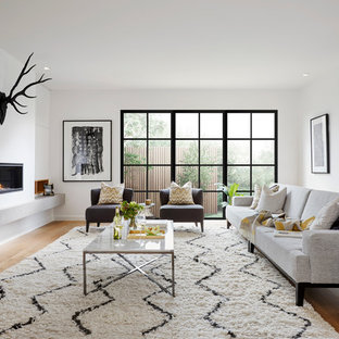 Design ideas for a contemporary open concept family room in Melbourne with white walls, light hardwood floors and a ribbon fireplace.