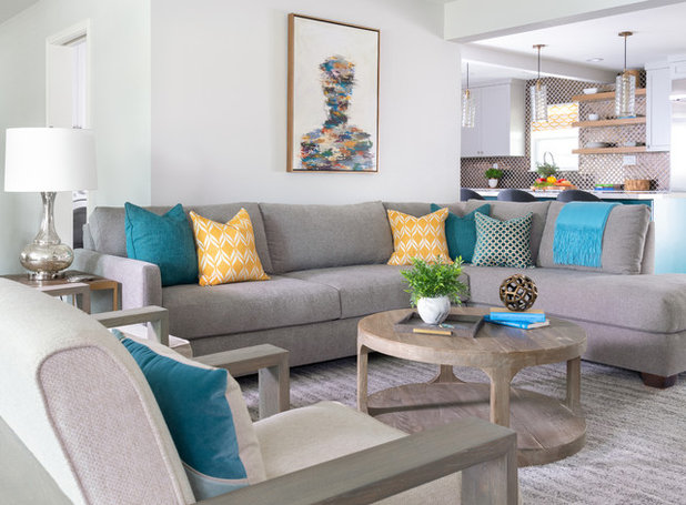 Transitional Family Room by MMI Design
