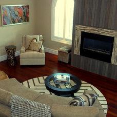Transitional Family Room by CANDICE ADLER DESIGN LLC