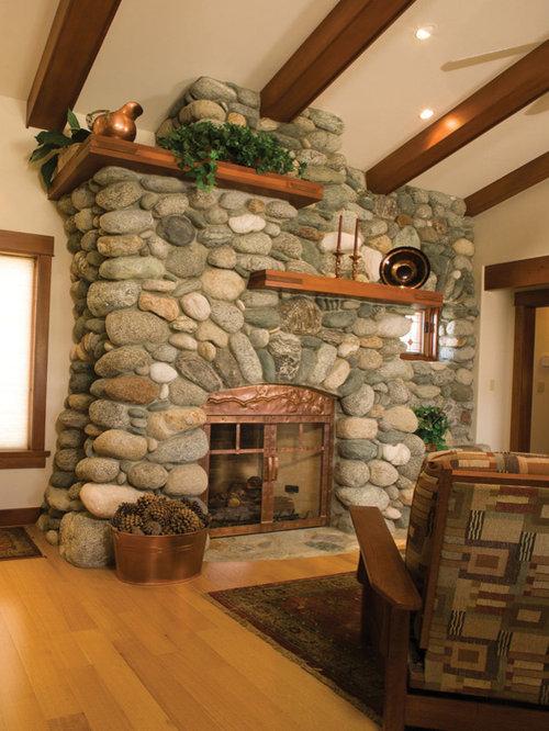 Round Stone Fireplace Houzz