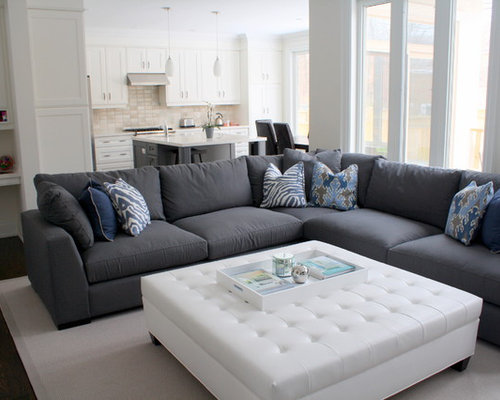 Superior Inspiration For A Contemporary Open Concept Dark Wood Floor Family Room  Remodel In Toronto With White Part 28