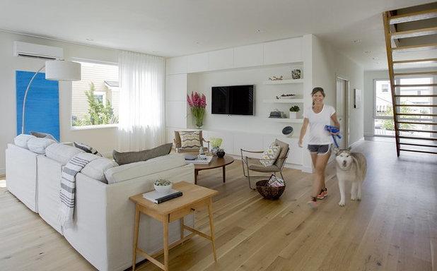 Contemporary Family Room by ZeroEnergy Design