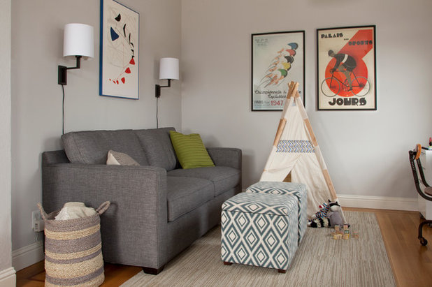 Transitional Family Room by Margot Hartford Photography