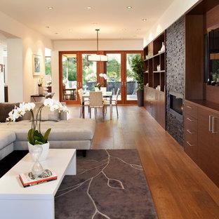 Idee per un soggiorno design di medie dimensioni e aperto con cornice del camino in pietra, pareti bianche, pavimento in legno massello medio, camino classico, TV a parete e pavimento marrone