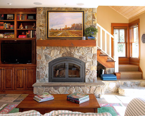 Country Slate Floor Family Room Photo In Seattle With Yellow Walls, A  Standard Fireplace, Part 75