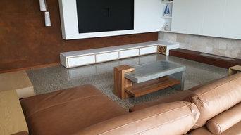 Living room. Full Stone exposure, Mechanically Polished Concrete