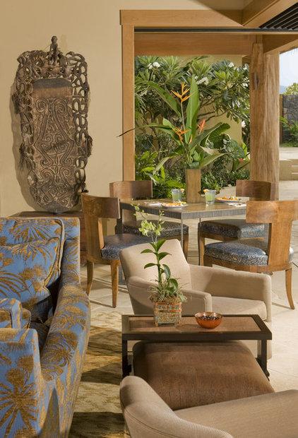 Tropical Family Room by Saint Dizier Design