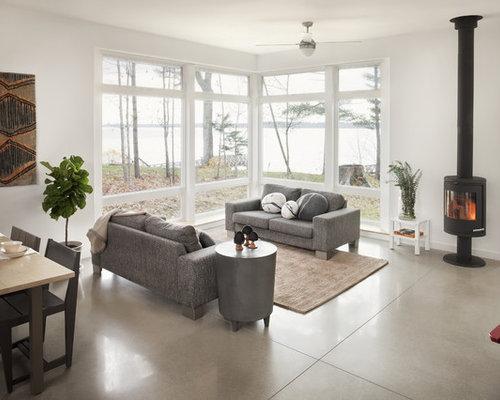 wohnzimmer mit kaminofen und grauer wandfarbe ideen design bilder houzz. Black Bedroom Furniture Sets. Home Design Ideas