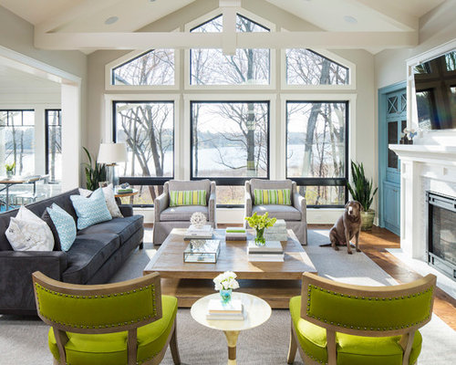 Inspiration For A Beach Style Open Concept Medium Tone Wood Floor Family Room Remodel In Minneapolis