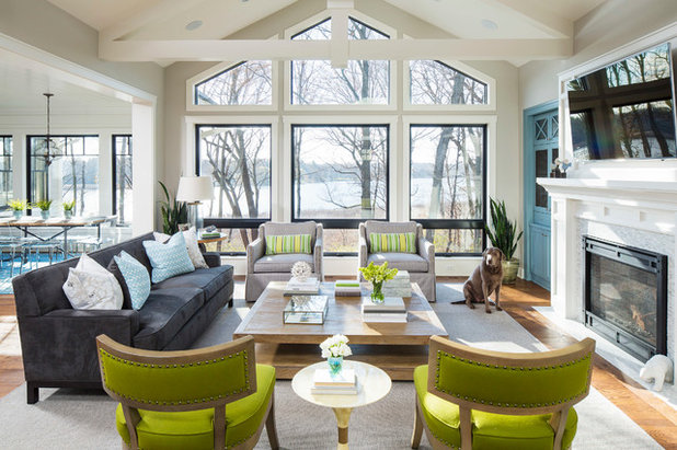 Beach Style Family Room by Martha O'Hara Interiors