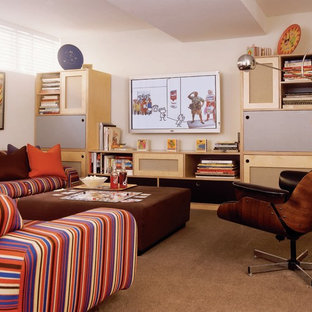 Inspiration for an eclectic carpeted family room remodel in Detroit with no fireplace