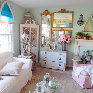 Inspiration for a shabby-chic style enclosed family room in Richmond with blue walls.