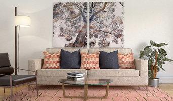 Living room staging vignette