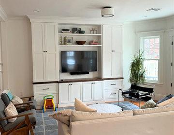Living Room with Custom Built-In Media Center