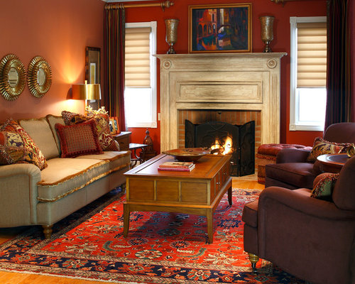 83 Living Design Photos With A Brick Fireplace Surround And Red Walls